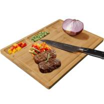 HHXRISE Organic Bamboo Cutting Board, With 3 Built-In Compartments And Juice Grooves, Chopping Board For Meats Bread Fruits, Serving Board Easy to Clean and Carry