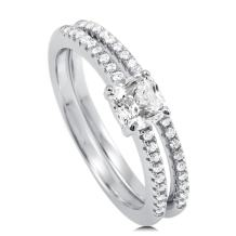 BERRICLE Rhodium Plated Sterling Silver Cushion Cut Cubic Zirconia CZ Solitaire Engagement Wedding Ring Set 0.8 CTW