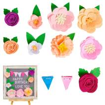 FIOBEE Letter Board Accessories Felt Flower Decorations for Letter Board Decor Changeable Message Board Accessories for Party Birthday Wedding (NOT Including Board)