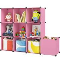 "KOUSI 14""x14"" Kids Toy Storage Cabinet DIY Toy Organizer Multifunction Storage Cubes Organizer Large Cube Organizer Shelf for Children's Bedroom Playroom,Pink 10 Cubes"