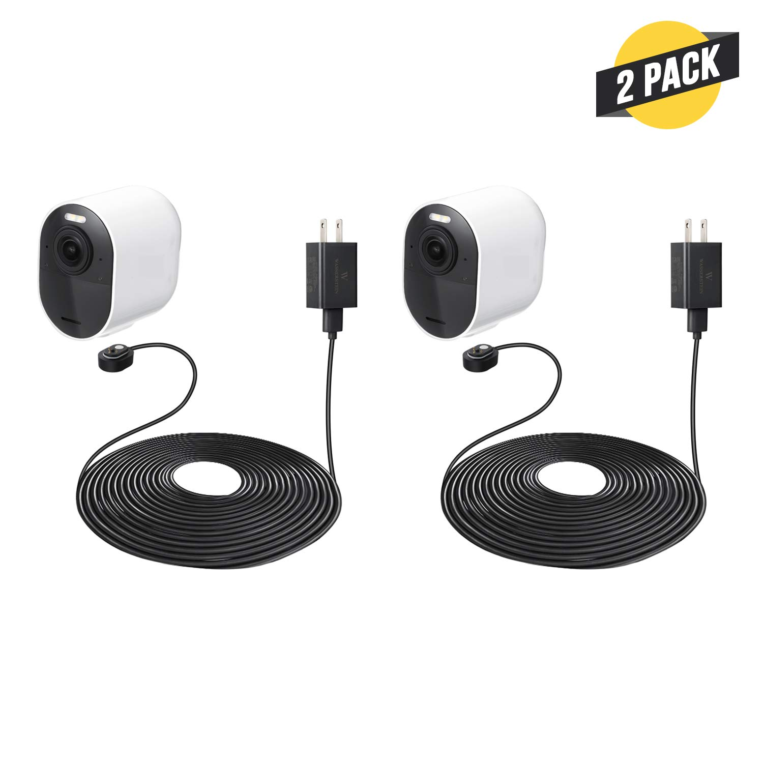 25ft/7.6m Weatherproof Outdoor Magnetic Charging Cable with Quick Charge Power Adapter Compatible with Arlo Ultra & Arlo Pro 3 - Charging Convenience for Your Arlo Camera (2- Pack, Black)