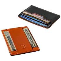 F&H Signature Slim RFID Card Holder Wallet in Top Grain Leather