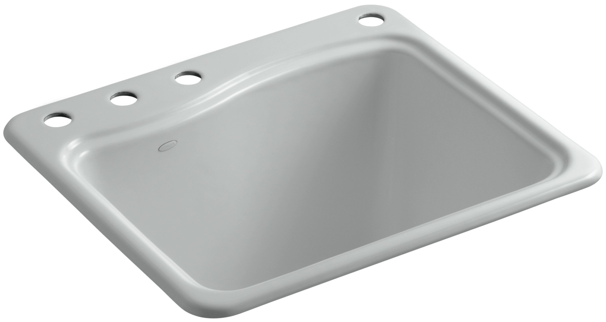 Kohler K-6657-4-95 River Falls Self-Rimming Sink with Three-Hole Faucet Drilling, Ice Grey