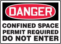 """Accuform MCSP043VA Aluminum Sign, Legend""""DANGER CONFINED SPACE PERMIT REQUIRED DO NOT ENTER"""", 14"""" Length x 20"""" Width x 0.040"""" Thickness, Red/Black on White"""