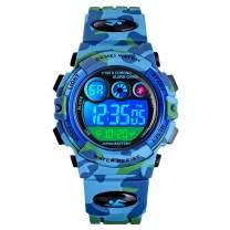 WUTONYU Boys Girls Digital Watch Kids Sports Outdoor 7 Colorful LED Luminous Watches Child Electronic Multi Function Alarm Stopwatch Quartz Waterproof Wristwatch
