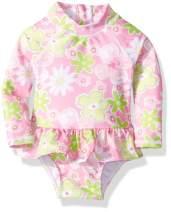 Flap Happy Girls' Baby UPF 50+ Alissa Infant Rash Guard Swimsuit, Hibiscus Garden, 24M