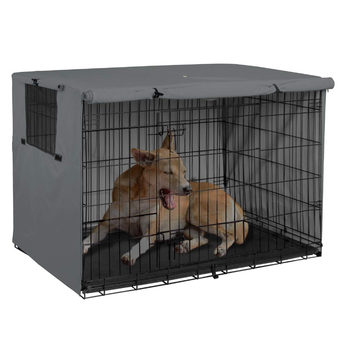 22 Inch, Tan Fits 24 30 36 42 48 inches Wire Crate HiCaptain Double Door Dog Crate Cover