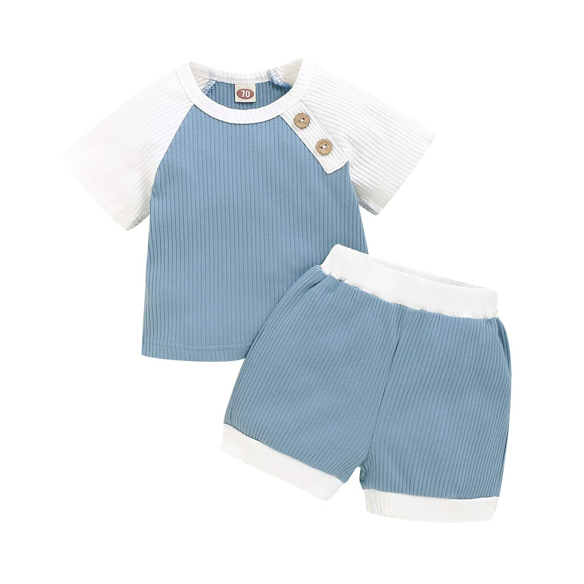 Infant Baby Boy Clothes Short Sleeve T-Shirt Tops + Solid Shorts 2PCS Toddler Summer Outfit Set