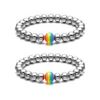 Jovivi 2pcs Couples Bracelets Rainbow Pride LGBT Bracelet Stainless Steel 8mm Silver Round Ball Beads Beaded Elastic Bracelet