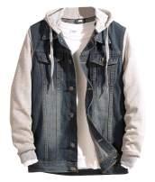 Kedera Men's Layered Drawstring Hood Denim Jacket w Pockets