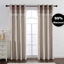 Jarl home 95% Beige Blackout Curtains for Bedroom Stitching Luxury Faux Silk Curtain with Darkening Liner Grommet 2 Panels Kitchen Curtains for Living Room