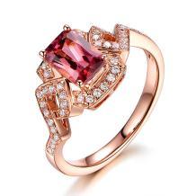 Amazing Natural Tourmaline Gemstone 14K Rose Gold Diamond Wedding Engagement Promise Party Ring Set