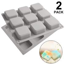 2 Pack Silicone Soap Molds 9 Cavities Square Soap Mold DIY Handmade Silicone Baking Mold Cake Pan for Soap Making, Ice Making, Pdding, Muffin, Loaf, Brownie, Cornbread and More (Gray)