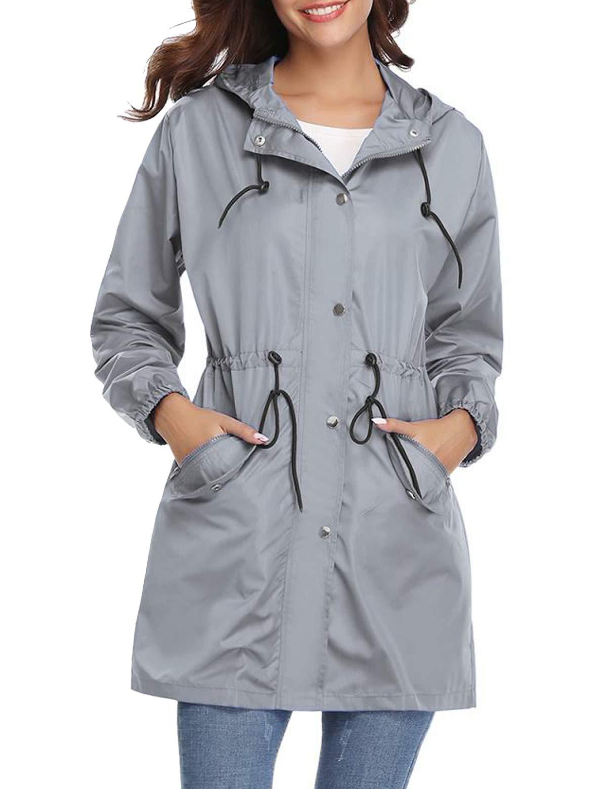 Aibrou Women's Raincoats Waterproof Active Outdoor Lightweight Hooded Windbreaker Rain Jacket