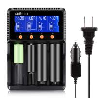 Battery Charger for 18650, GBlife Universal Smart Battery Chargers with Car Adapter/LCD Display for Rechargeable Batteries Ni-MH Ni-Cd A AA AAA AAAA C, LiFePO4 Li-ion 26650 26500 18490