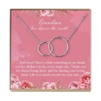 Dear Ava Grandma Necklace: Grandma Gift, Gift for Grandma, New Grandma to Be, Only The Best Moms are Upgraded to Grandma, 2 Interlocking Circles