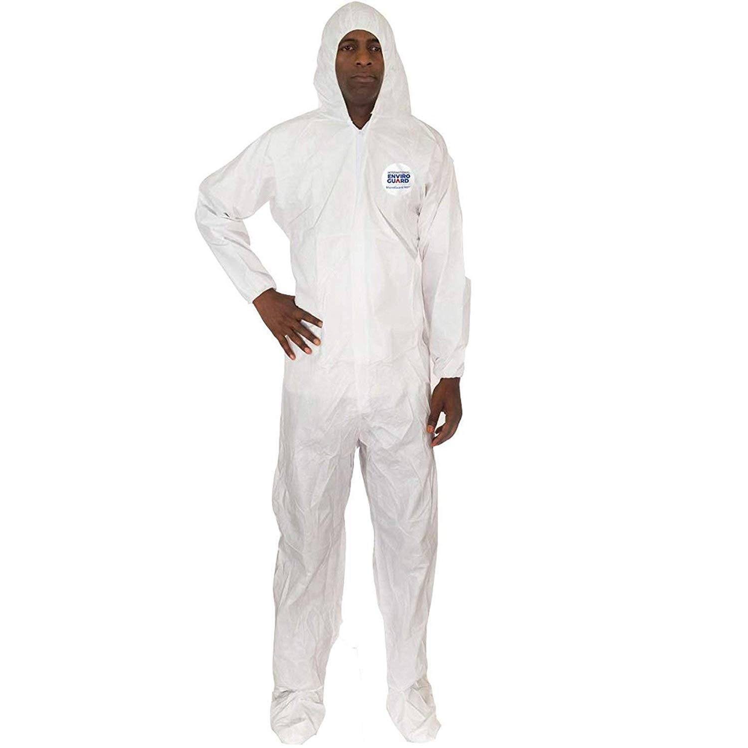 Microguard MP Microporous (White)   Particulate & Splash Protection/Disposable Hazmat Coverall with Elastic Wrist and Attached Hood & Boot for Paint and Particulates (L, Case of 25)