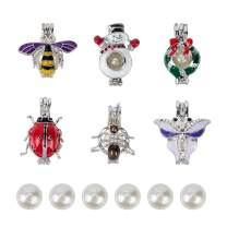 NBEADS 6 Pcs Mixed Alloy Enamel Butterfly Bee Ladybug Spider Snowman Christmas Wreath Charm Cage Pendants with 6 Pcs Acrylic Pearl Beads for DIY Necklace Bracelet Jewelry Making, Mixed Color