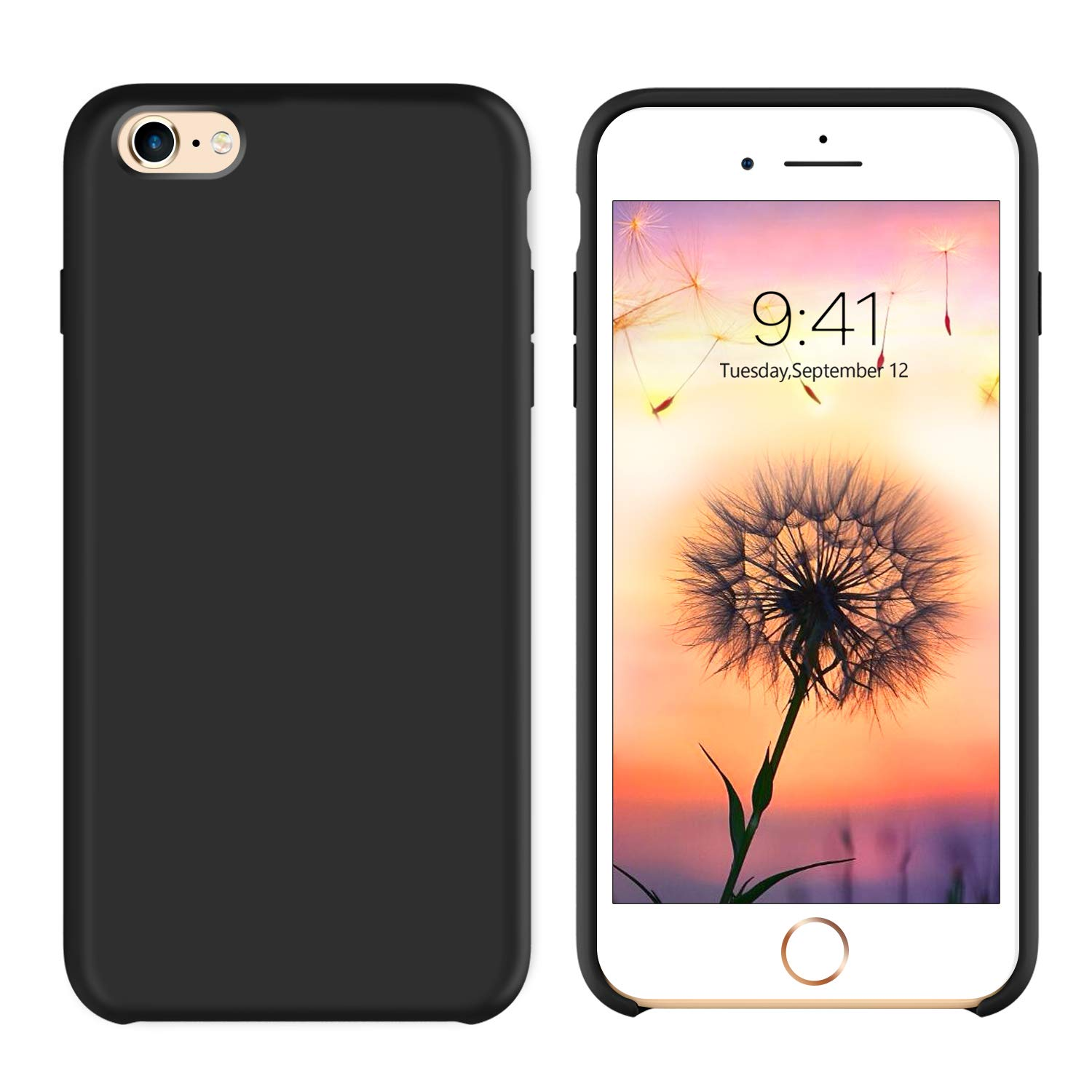 GUAGUA iPhone 6S Plus Case iPhone 6 Plus Case Liquid Silicone Gel Rubber Cover with Soft Microfiber Cloth Lining Cushion Case Slim Fit Shockproof Protective Phone Cases for iPhone 6S Plus/6 Plus Black