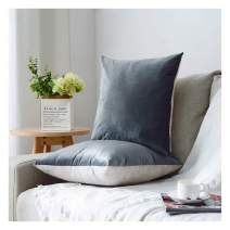 HPUK Pack of 2 Velvet Throw Pillow Cover Cozy Solid Pillowcase Decorative Cushion Cover for Couch Sofa Bedroom Office car, 26x26, Grey, Reversible