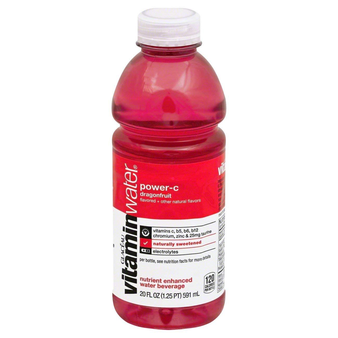 vitaminwater zero power-c, dragonfruit flavored, electrolyte enhanced bottled water with vitamin b5, b6, b12, 20 fl oz, 12 pack