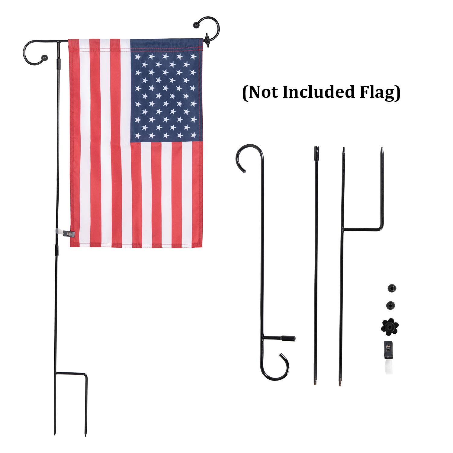 NQ Garden Flag Stand Flagpole, Premium Metal Powder-Coated Weather-Proof Paint with Anti-Wind Clip for Easter Garden Flag (Black) (1 Pcs)