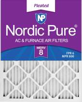 Nordic Pure 18x20x1 MERV 8 Pleated AC Furnace Air Filters 6 Pack, 18x20x1M8-6