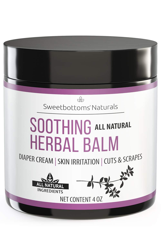 All-Natural Diaper Rash Cream Balm - Prevent & Heal Inflamed Skin and Rash - Treat Cuts, Scrapes & Eczema - Made with Botanical-Rich Therapeutic Skin Butters & Oil - No Additives Diaper Cream 4 oz.