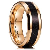 King Will Mens 8mm Tungsten Carbide Wedding Ring Rose Gold Plated Imitation Sandstone Sticker Inlay