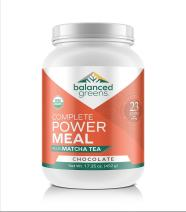 Power Meal Plus Matcha Protein Powder Meal Replacement by balanced greens, Organic, Raw, All-in-one Nutritional Vegan Shake, Gluten Free Chocolate - 12 Servings