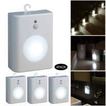 WRalwaysLX Motion Sensor LED Nightlight, Battery-Powered Cool Light,Step Light for Stair,Hall,Closet,Bathroom,Kitchen,Cabinet, Stick-Anywhere,0.5W LED, 4Pack