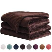 "LIANLAM King Size Fleece Blanket Lightweight Soft and All Season Warm Fuzzy Plush Cozy Luxury Bed Blankets Microfiber(Coffee, 104""x90"")"