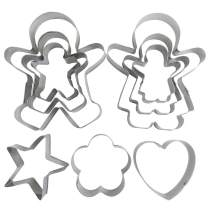 9 Pack Cookie Set Mold,YuCool Stainless Steel Mold for Press Cookie Dough Sandwiches Bread-Gingerbread Boy and Girl Set Star Heart Flower