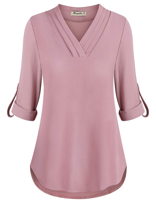 Moyabo Womens 3/4 Cuffed Sleeve Chiffon Triple Pleat V Neck Casual Blouse Shirt Tops