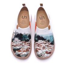 UIN Women's A Red Vival City Slip On Summer Spring Canvas Travel Fashion Sneaker Art Painted Shoes