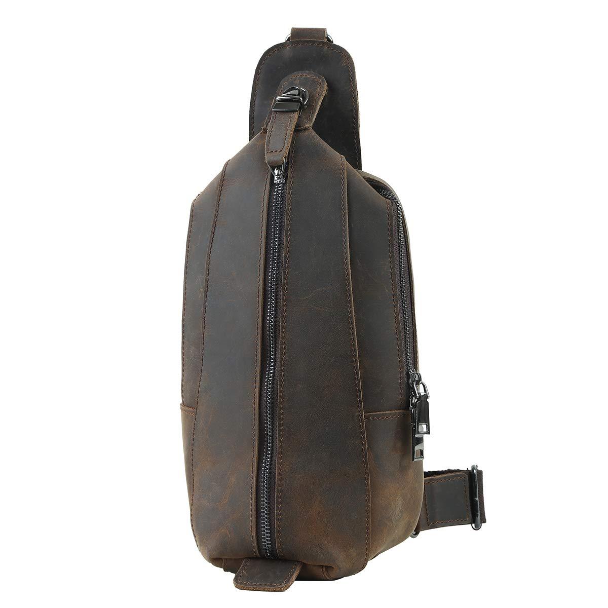 Leathario Men's Leather Sling bag Chest bag One shoulder bag Crossbody Bag Backpack for men (Brown-36)