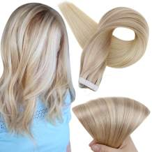 Full Shine Remy Tape In Hair Extensions Nordic 16 Inch Balayage Color 18 Fading To 22 And 60 Platinum Blonde Real Hair Tape Extensions Double Sided Glue In Hair 20 Pcs 50 Grams