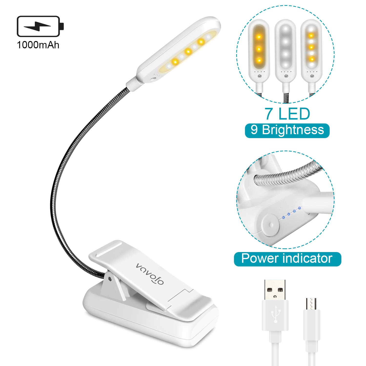 VAVOFO Clip On Book Light for Bed Kids, 7 LED Reading Light with 9-Level Warm Cool White Daylight, Eye Care Lamp with Power Indicator for Kindle Bookworms (White)