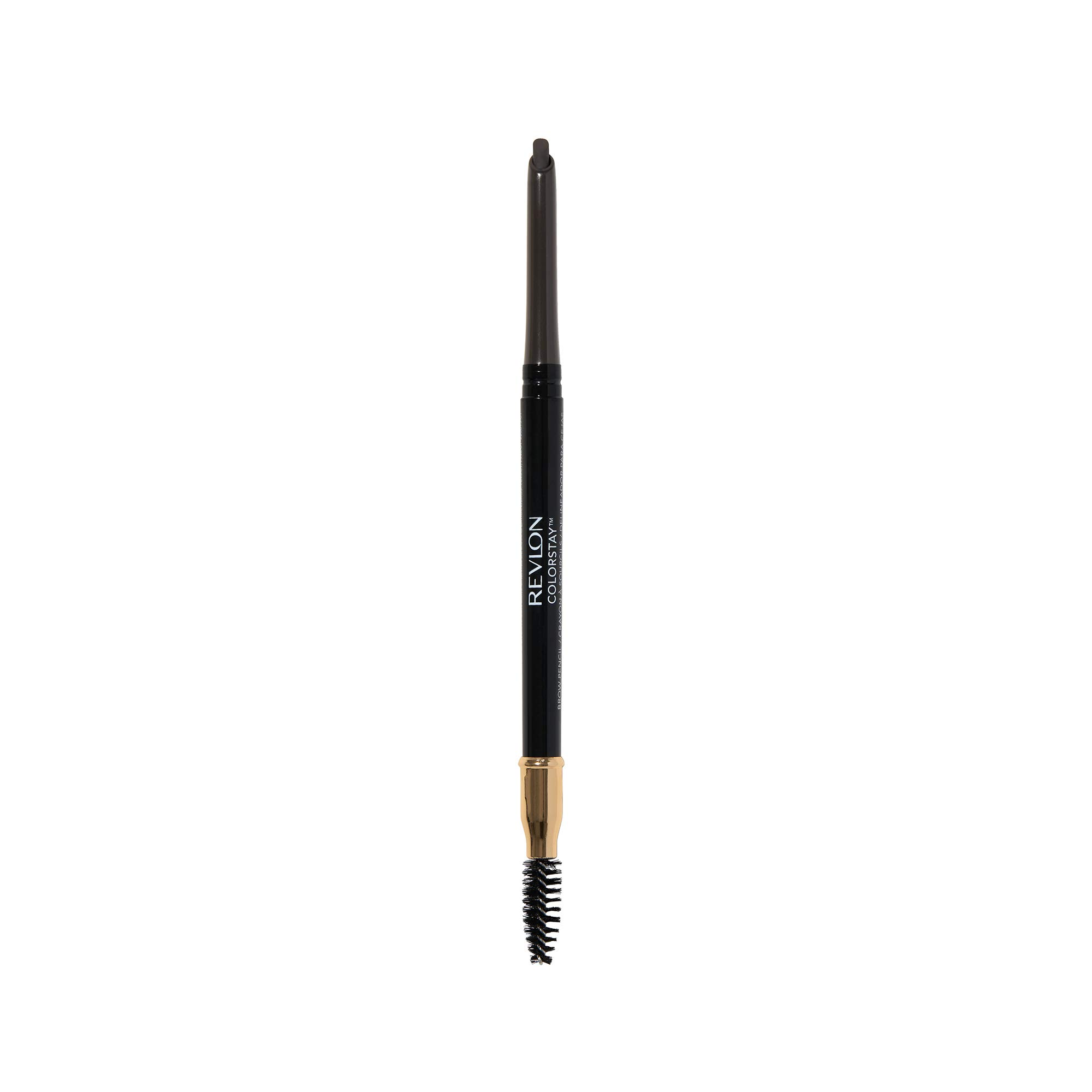 Revlon ColorStay Eyebrow Pencil with Spoolie Brush, Waterproof, Longwearing, Angled Tip Applicator, 225 Soft Black, 0.012 oz