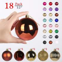 GameXcel Christmas Balls Ornaments for Xmas Tree - Shatterproof Christmas Tree Decorations Large Hanging Ball Bronze & Gold3.2 x 18 Pack
