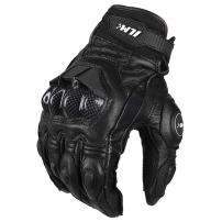ILM Air Flow Leather Motorcycle Gloves Touchscreen for Men and Women (L, Black)