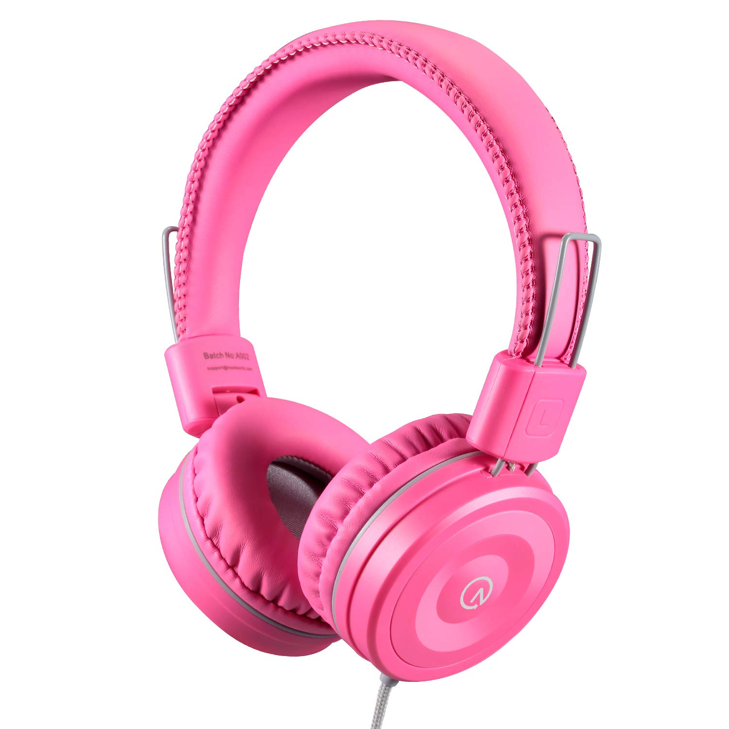 Kids Headphones-noot products K22 Foldable Stereo Tangle-Free 3.5mm Jack Wired Cord On-Ear Headset for Children/Teens/Girls/Smartphones/School/Kindle/Airplane/Plane/Tablet-Flamingo Pink/Gray