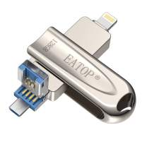 EATOP iOS Flash USB 3.0 Drive 128GB iPhone Flash Drive for iPhone X XR XS MAX, Photo Stick for iPhone 6, iPhone 6 Plus, iPhone 8 Plus & iPad, iPhone Thumb Drive for iOS Android and Computer (Silver)