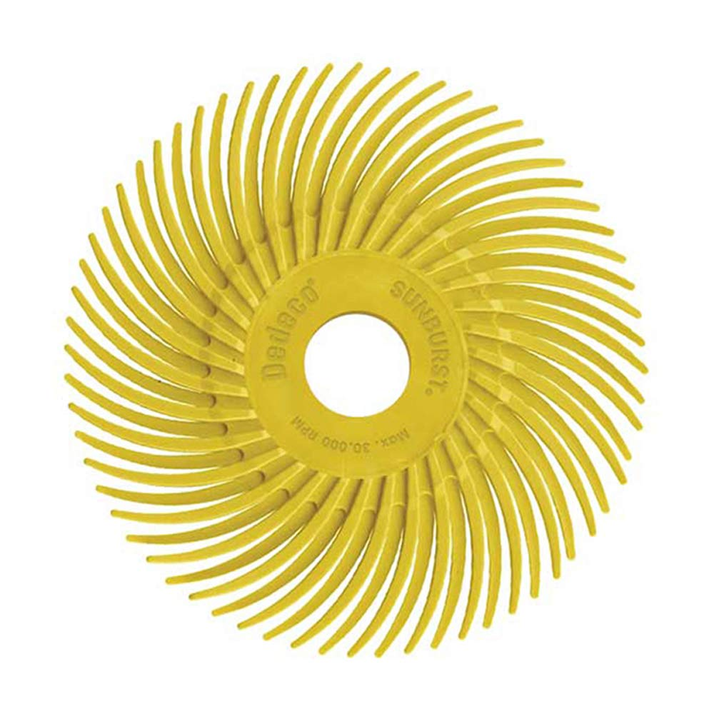 Dedeco Sunburst - 2 Inch TC Radial Bristle Discs - 3/8 Inch Arbor - Industrial Thermoplastic Rotary Cleaning and Polishing Tool, Coarse 80 Grit (12 Pack)