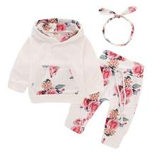 3PCS Newborn Kids Baby Girl Clothes Hooded Sweater Tops+Floral Pants Outfits Set with Headband