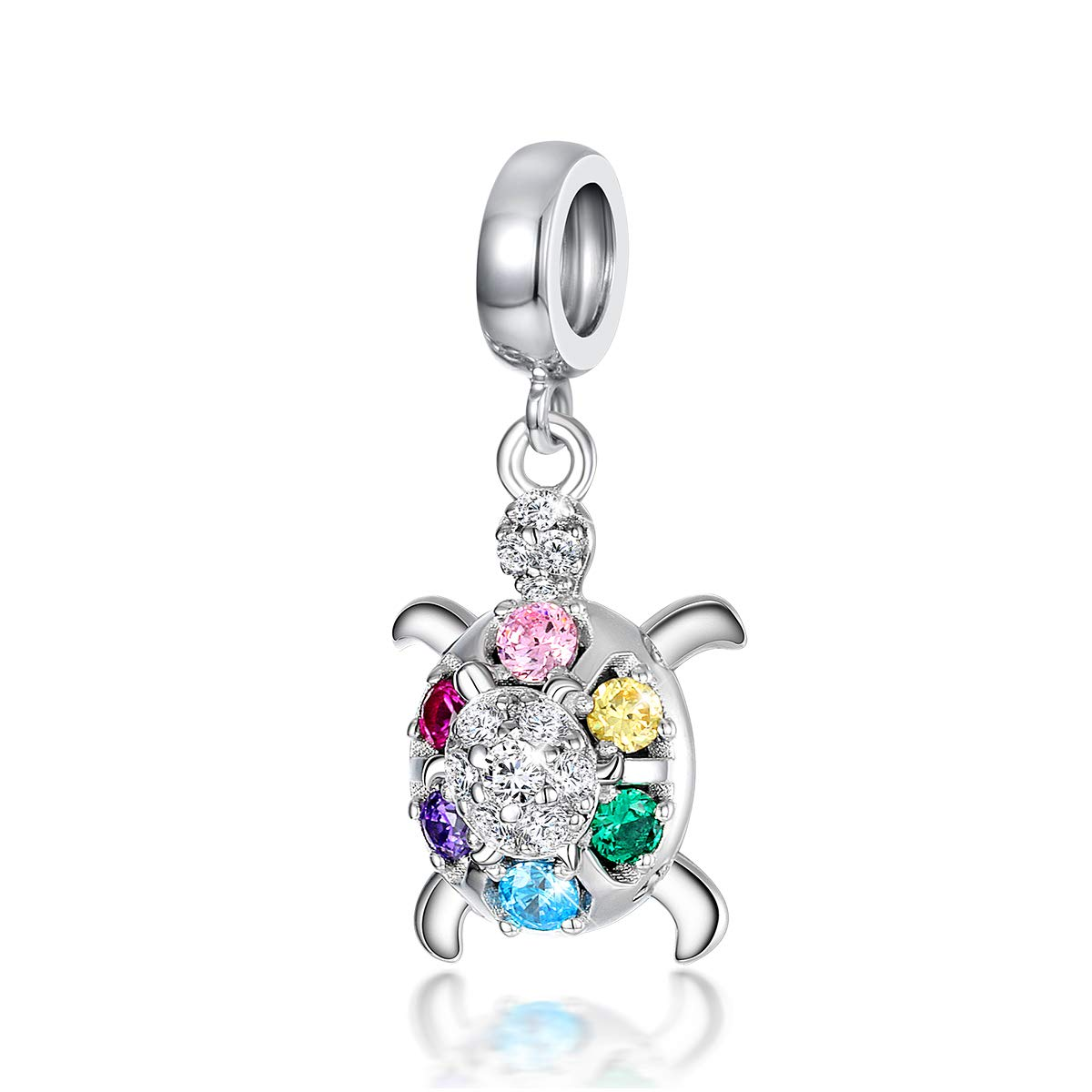 FOREVER QUEEN Mother Baby Turtle Bead Wisdom Tortoise Charm fit Charms Bracelet 925 Sterling Silver Dangle Charm with Gift Box for Mother