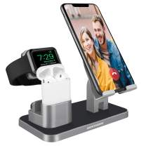 3 in 1 Charging Dock Stand Station Compatible with iWatch Series 5/4/3/2/1 Airpods 1st/2nd iPhone 11/11 Pro Max/11 Pro/XS MAX/XR/XS/X/8 Plus/7 Plus/6S Plus/6S 9.7 iPad Tablet Android Smart Phone Gray