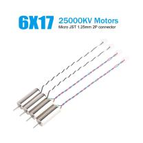 4pcs 6x17mm Brushed Motors 25000KV 0.8mm Shaft Tiny Whoop Motors with Micro JST 2P Connector CW CCW 617 Coreless Motors for Beta65 Blade Inductrix Tiny Whoop Nano QX RC Drones