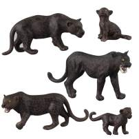 Fantarea Realistic Wildlife Animal Figures Panther Animal Model Figurines Party Favors School Project Classroom Reward Cognitive Toys for 5 6 7 8 Years Old Boys Girls Kid(5 PCS)