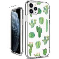 GiiKa iPhone 11 Pro Max Case with Screen Protector, Full-Body Heavy Duty Protective Women Girls Slim Bumper Cover Clear Phone Case with Screen Protector for iPhone 11 Pro Max, Green Cactus